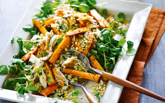 Smoked Mackerel Roasted Carrot and Barley Salad