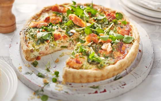 Smoked Salmon and Onion Quiche