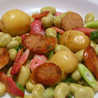 Smoked Sausage, Broad Bean Salad